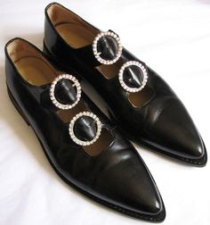 COMME DES GARCONS black shoes with rhinestone buckles image 2
