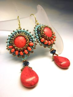 EGYPTIAN -- Red Coral Turquoise Crystal Seed Beads Dangle Brass Hook Earrings dharajewelry