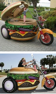 Cheeseburger Trike LOL I'd love to see this driving down the road!