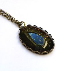 Hand painted Colorshifting Galaxy Necklace, Space Necklace Antique Necklace Bronze necklace Geekery necklace Geekery jewelry Nebula necklace
