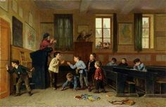 """""""When the Cat's Away the Mice Will Play"""", c1860.  Théophile Emmanuel Duverger (1821-1901), French painter. Oil on panel. Collection Museums Sheffield."""
