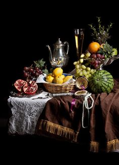 Breakfast piece with Fruits and Flute Glass Art Print by Levin Rodriguez Dutch Still Life, Still Life Art, Christmas Table Settings, Christmas Tablescapes, Deco Table, A Table, Yalda Night, Photographie Portrait Inspiration, Still Life Oil Painting