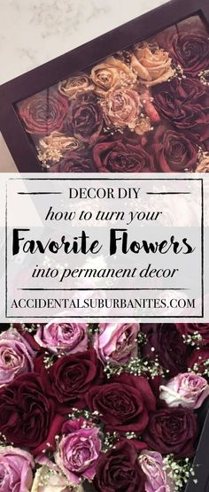 gifts flowers DIY dried roses in a shadow box - preserve roses! want to turn a meaningful bouquet into long-lasting home decor Heres how to dry and preserve your favorite flowers and display them in a shadow box! Bouquet Shadow Box, Flower Shadow Box, Diy Shadow Box, Flower Boxes, How To Shadow Box, Shadow Box Wedding, Shadow Shadow, Flower Crafts, Diy Flowers