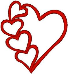 Chain of Hearts Outline Machine Embroidery Design | Kinship Kreations