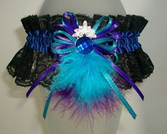 Blue Purple Teal and Black Lace Rhinestones and Feathers Prom or Wedding Garter JazziGenShoppe