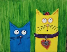 whimsical cats looking up and seeing a ladybug, funny.