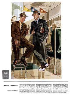 1950s Fashion Menswear, Mens Fashion Wear, 1940s Fashion, Vintage Fashion, Men's Fashion, 50s Style Men, Ivy Style, Men's Style, Fashion Illustration Vintage