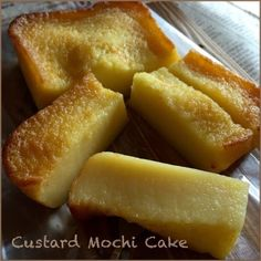 My Mind Patch: Custard Mochi Cake 吉士糯米糕 Sweet Rice Flour Recipe, Rice Flour Recipes, Baking Recipes, Dessert Recipes, Rice Cake Recipes, Sushi Recipes, Sandwich Recipes, Baking Powder Ingredients, Milk Ingredients