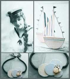 #necklace #handmade #jewelry #fashion #fabricsjewelry #style #accessories #unique #vintage #retro #sea #ship #blue #navy #anchor #white #stripes #sailor #satin #buttons
