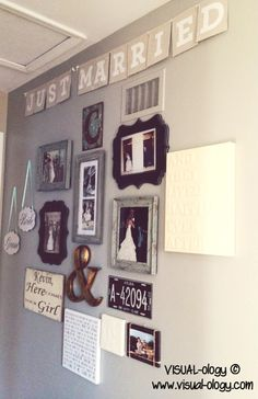 """After the wedding, a """"just married"""" wall to remember everything you treasured from your special day! Hang it on a wall leading to the master bedroom?"""