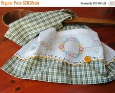 Winter Sale Kitchen Tea Dish Towel The Garden Fence Vintage Recycled Pillowcase to Upcycled Homespun Home Decor Foodie Cook Chef Gift Idea