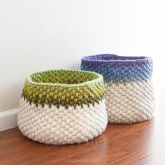 Scrap buster crochet baskets.  Free pattern! | www.1dogwoof.com