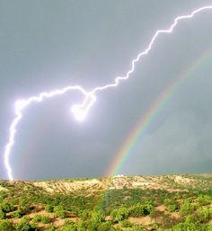 The Badass New Mexico Sky, Rainbow & Lightning, not just any lightning but Ball Lightning!!!