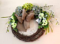 Grapevine Wreath with Silk Hydrangeas and Burlap Bow