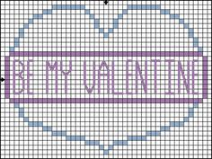 Be My Valentine Heart Cross Stitch Pattern - Simple Solid Color