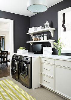 Luxurious Laundry Room Ideas. Black walls, white open shelves