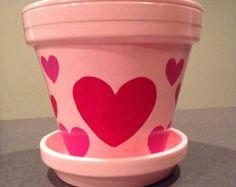 Hand painted pink Valentine's Day flowerpot with red and pink hearts. Valentine's Day decor. Heart decor. Heart planter.