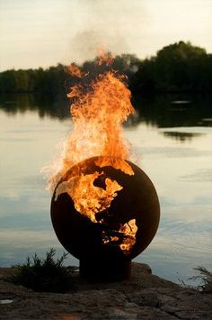 Pretty sure a fire pit shaped like a globe is the coolest thing I've seen all day.