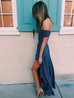 blue dress long high low off shoulders with white