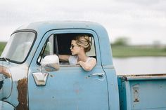 Blond girl driving an old pickup truck by Stalman & Boniecka - Stocksy United - Royalty-Free Stock Photos Women Drivers, Girls Driving, Old Pickup Trucks, Rockabilly Fashion, Rockabilly Style, Pin Up Style, Classic Trucks, Female Images, Pick Up