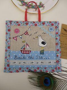 Handmade Seagulls Hanging Plaque Picture Cath Kidston fabric, seaside segulls £12.99
