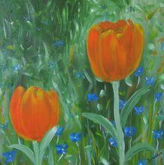 Oranje tulpen. Schilderijtje maat 30x30 http://members.home.nl/jeannettevanwelie/