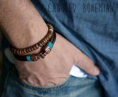 Mens Leather Bracelet Leather bracelets, Jewelry for Men, Mens bracelet, Gift For Him, Surfer Style Jewelry, MEns Accessories, Mens Dope, MEns Style, MEns Fashion, Cool Bracelets Men, Tibetan Jewelry, Tibetan Bracelets, Men Beaded Bracelet by CandiedBohemian #menswear #mensfashion #menstyle #dope #fashion #style #men #dopeness