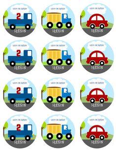 POCO coches y camiones partido círculos/Cupcake Toppers