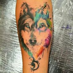 Love this watercolor wolf tattoo// watercolor tattoo ideas// wolf tattoos// fore. Trendy Tattoos, Love Tattoos, Beautiful Tattoos, Body Art Tattoos, New Tattoos, Tattoos For Guys, Maori Tattoos, Tatoos, Cross Tattoos