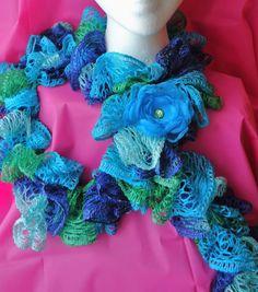 Crochet Ruffle Sashay Scarf Blue and Green Handmade by Bloomzies, $15.00