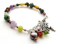 Glass and Gemstone Bracelet - Mojito Fairy