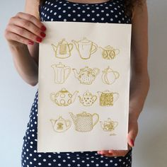 vintage tea pots art print / gold ink print / gift for tea lover / kitchen wall art / tea pot illustration print / teapots home decor by AnnaGrundulsDesign