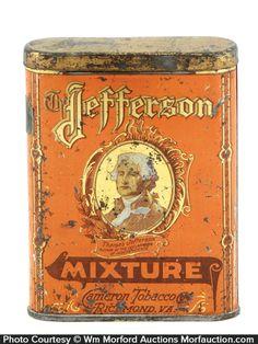 Antique Advertising | Jefferson Mixture Tobacco Tin • Antique ...