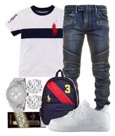 A menswear look from July 2016 featuring mens biker jeans, white t shirt and red bag. Browse and shop related looks. Dope Outfits For Guys, Swag Outfits Men, Outfits For Teens, Boy Outfits, Casual Outfits, Men Casual, Casual Clothes, Casual Wear, Teen Boy Fashion