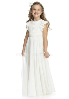 2017 Off White Junior Bridesmaid Dress, Ruffle Sleeve Flower Girl ...