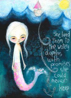 watery depths mermaid print