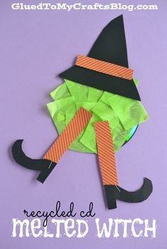 Recycled CD Melted Witch - Kid Craft halloween crafts for kids Halloween Craft Activities, Fun Halloween Games, Halloween Crafts For Toddlers, Toddler Crafts, Halloween Themes, Fall Halloween, Preschool Halloween, Toddler Halloween, Toddler Art