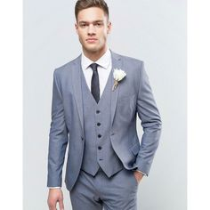 Selected Homme Wedding Super Skinny Suit Jacket (203,475 KRW) ❤ liked on Polyvore featuring men's fashion, men's clothing, blue, tall mens clothing and mens beach wedding apparel