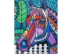 Use Discount Code - SAVEME60 - Horse Art Art Print Poster by Heather Galler abstract animal (HG514)