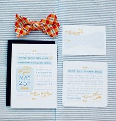 Wending Invitations: Seersucker with an orange bowtie and beautiful letterpress invitations | Southern Wedding Ideas At The Milestone by Jeremy & Kristin Photography on Wedding Chicks — Loverly Weddings