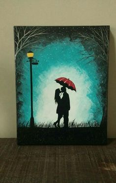 Original Couple kissing in the rain wall art,couple with red umbrella painting,couple silhouette painting,Kiss art,Birthday Gift for her by ArtByRangrez on Etsy (Diy Art Wall) Simple Canvas Paintings, Easy Canvas Painting, Colorful Paintings, Easy Paintings, Canvas Art, Acrylic Canvas, Paintings Of Couples, Oil Pastel Paintings, Canvas Ideas