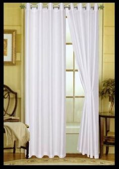 Elaine Grommet Top Faux Silk Window Curtain  100  Washable Faux Silk Polyester  Luxury Heavy 100gsm Fabric  2 Panel Each 58x84 Solid White ** You can find out more details at the link of the image.
