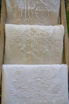 This antique embroidery on linen is amazing! To have those embroidered linen textiles in your home was a real luxury some time ago and still is. When you imagine all the work put into it, then. Vintage Lace, French Vintage, Vintage Embroidery, Embroidery Monogram, Vintage Monogram, White Embroidery, Antique Lace, Embroidery Thread, Passementerie