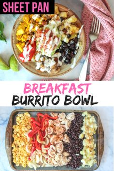 Easy healthy quick and delicious baking sheet vegan breakfast burrito bowl. Easy healthy quick and delicious baking sheet vegan breakfast burrito bowl. Packed with protein. Vegan Breakfast Recipes, Breakfast Bowls, Vegan Snacks, Vegan Dinners, Vegetarian Recipes, Vegan Breakfast Protein, Plant Based Breakfast, Vegan Breakfast Burritos, Daniel Fast Recipes Breakfast