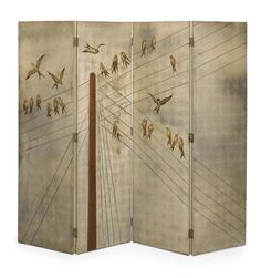 View Four-panel screen by Jean Dunand on artnet. Browse upcoming and past auction lots by Jean Dunand. Decorative Screens, Decorative Items, Divider Screen, Wood Detail, Screen Design, Hand Painted Furniture, Design Art, Folding Screens, Painted Screens