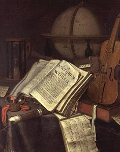 Edwaert Collier seems to have painted many of these kinds of still life.  This one is of books and musical instruments, which seem very appropriate for the play.