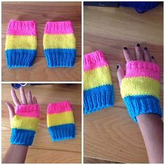 These hand knit fingerless mitts are made of blue, yellow, and pink acrylic yarn Pansexual Pride, Pride Outfit, Lgbt Love, Fingerless Mitts, Pink Acrylics, Pride Parade, Gay Pride, Bunt, Hand Knitting
