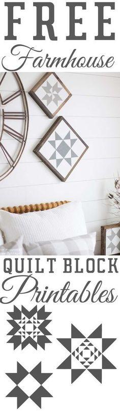 Free Farmhouse Printables Quilt Block Stars - The Mountain View Cottage