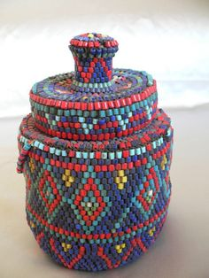 ANTIQUE ETHNOGRAPHIC TRIBAL AFRICAN ZULU BEADED WOVEN  HERB POT