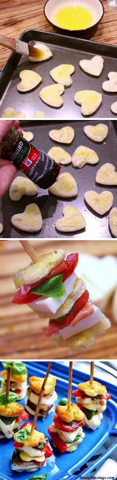 Caprese Skewers | Recipe By Photo Can't have the Proscuitto while prego (Unless it's boiling hot/ruined) but these would be delicious vegetarian style! I love the little hearts!